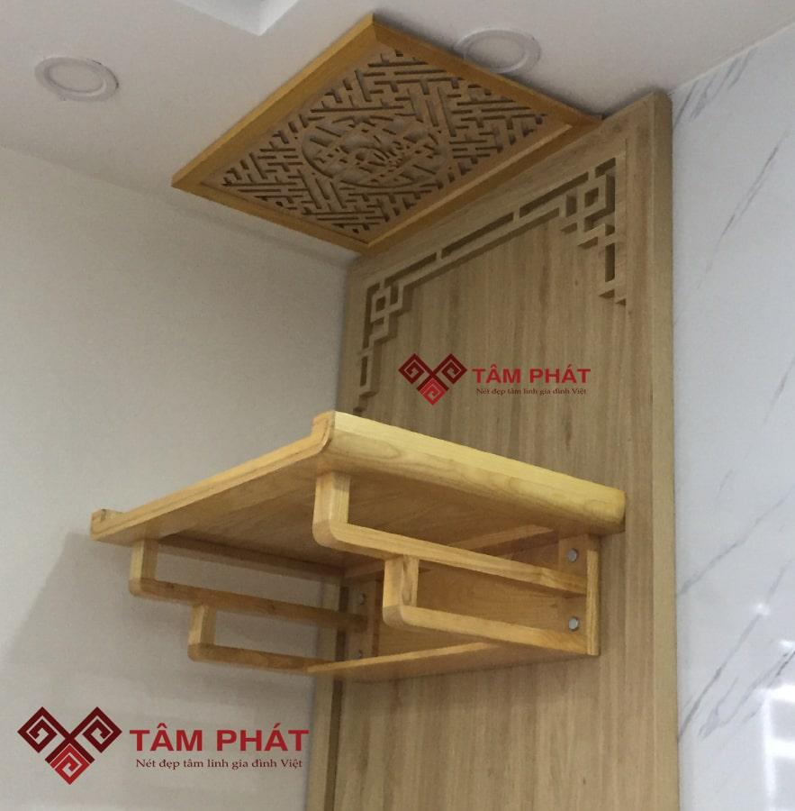 Bàn thờ treo tường chung cư Tâm Phát luôn được thiết kế sáng tạo, hấp dẫn người nhìn, mang đậm nét nghệ thuật, tâm linh người Việt