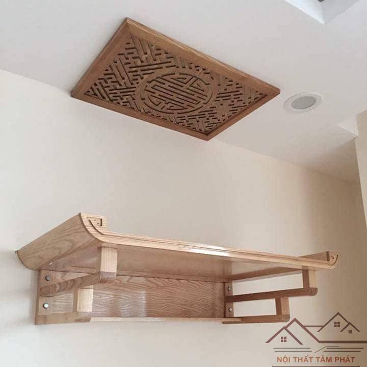 Bàn thờ treo tường chung cư nổi bật vẻ đẹp sang trọng, uy nghiêm từ chính sự đơn giản mộc mạc