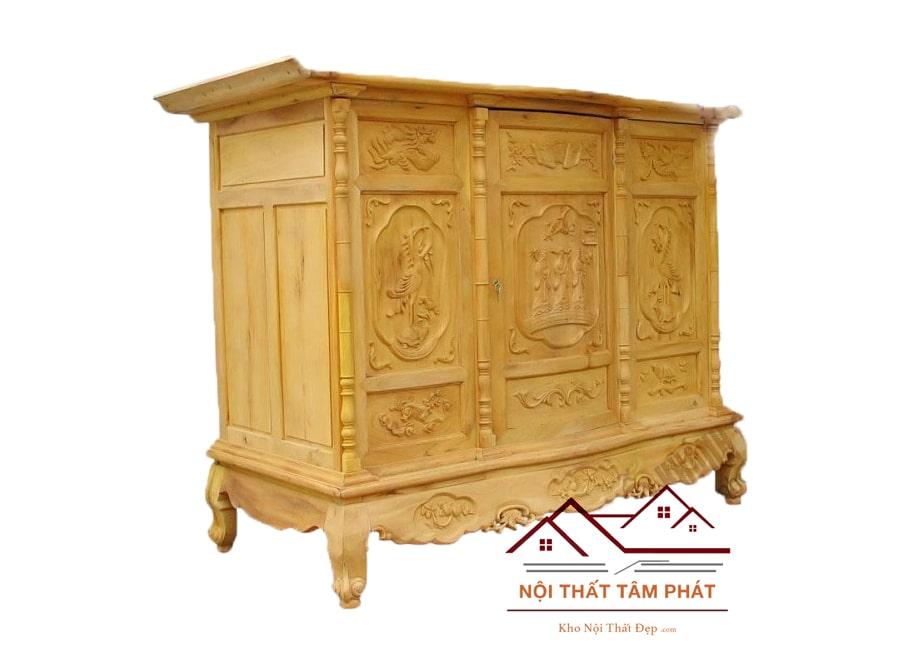 Tủ thờ gỗ Mít cao cấp mẫu BT0012 với thiết kế đơn giản nhưng vẫn vô cùng sang trọng và trang nghiêm