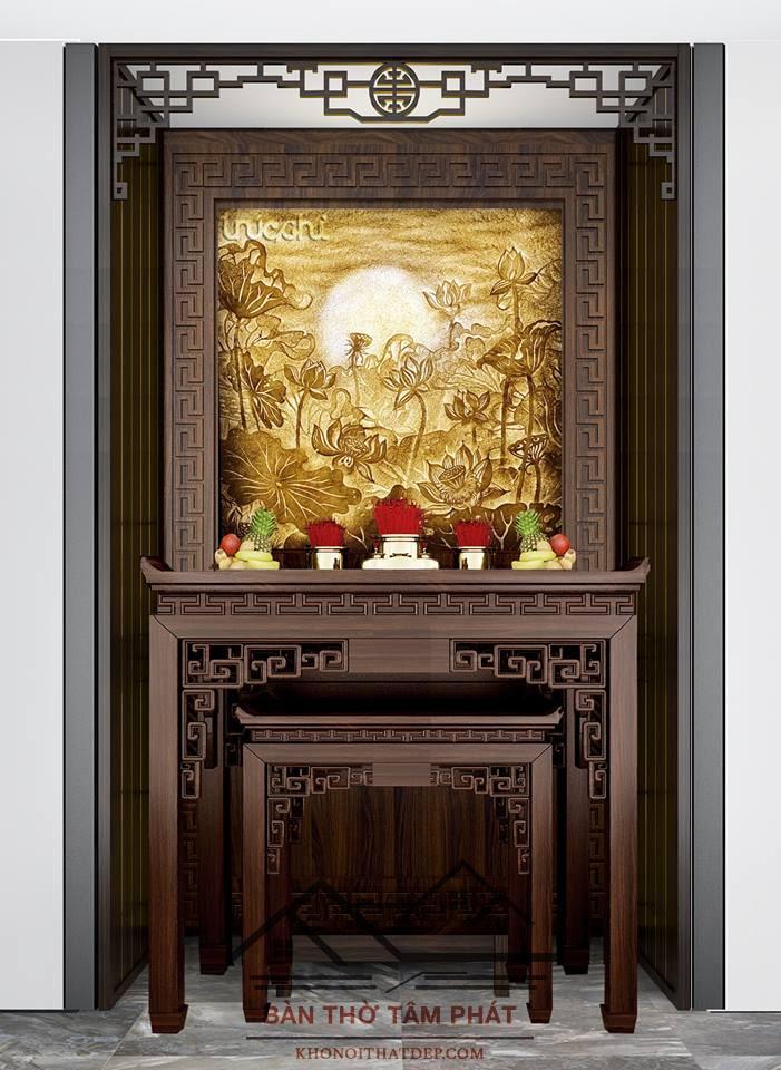 Bàn thờ gỗ Gụ mẫu BTG019 kích thước 61x127