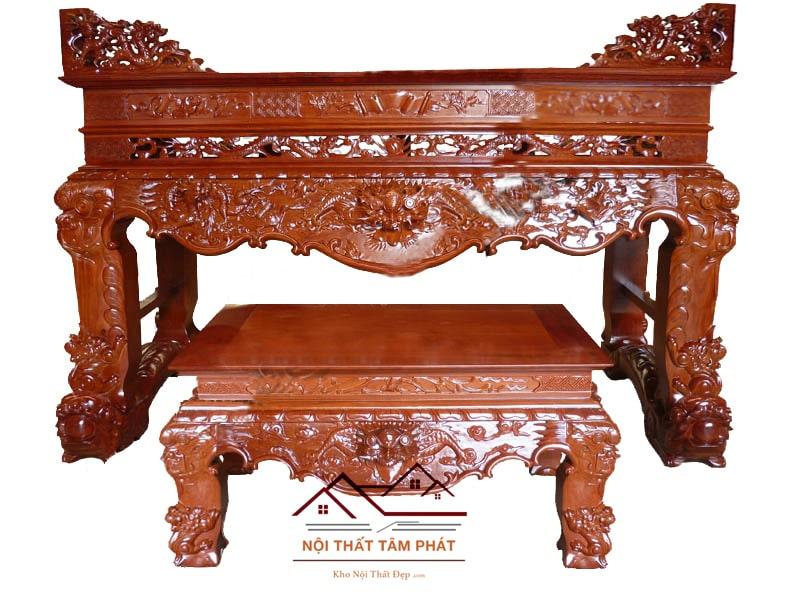 Sập thờ gỗ Gụ cao cấp mẫu STG011 Tâm Phát mang đường nét cổ kính, đục hình tứ linh tôn đường nét sắc sảo, làm bằng 100% gỗ Gụ cao cấp, chất lượng.