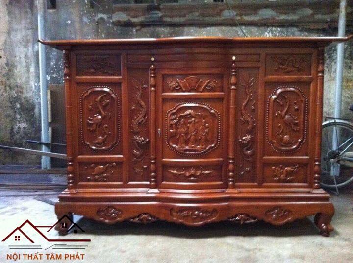 Tủ thờ gỗ Hương mẫu BTH022 Tâm Phát