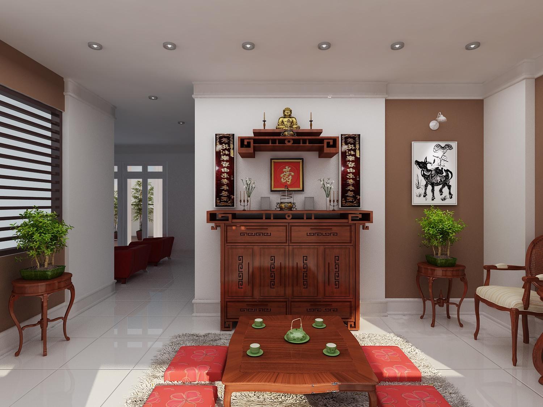 Gia chủ có thể lựa chọn bàn thờ kết hợp giữa bàn thờ treo tường cùng với bàn thờ đứng