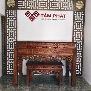 Mẫu bàn thờ gia tiên gỗ Gụ được chạm đục tinh tế