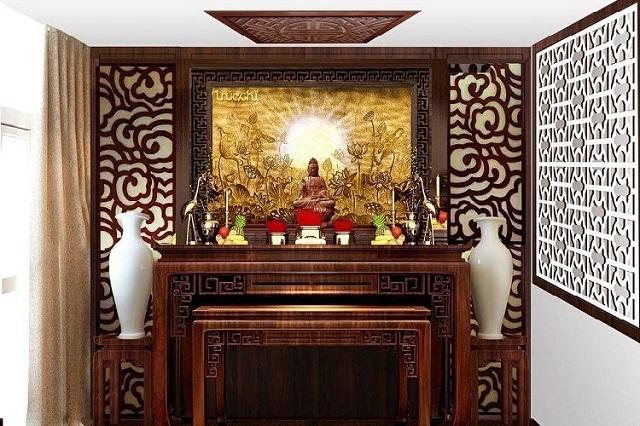 Bàn thờ Phật chung với gia tiên đặt ở nơi trang nghiêm