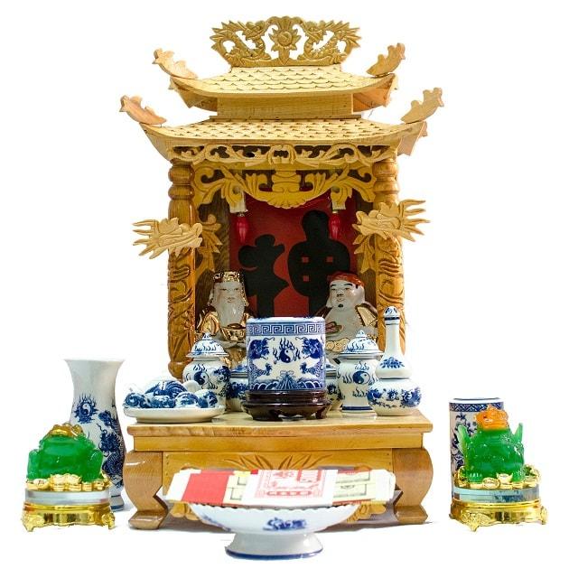 Bàn thờ Ông Địa gồm những gì? Cách bài trí bàn thờ Ông Địa đẹp, đúng chuẩn, theo phong thủy. Cách bố trí, bày trí, sắp xếp, trang trí bàn thờ Ông Địa thật đẹp