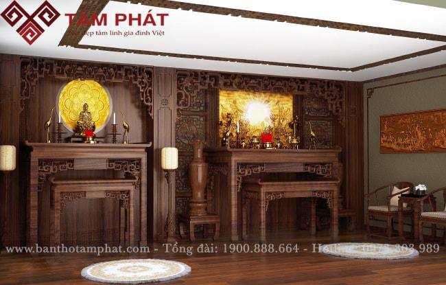 Phòng thờ gia tiên kết hợp bàn thờ Phật