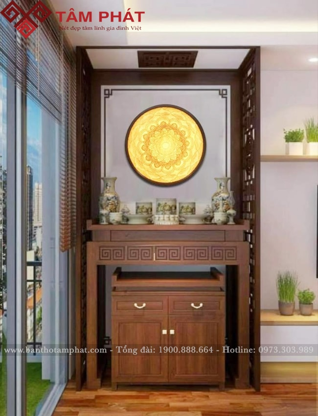 Phòng thờ hiện đại bài trí nội thất theo lối nhẹ nhàng, tối giản, tinh tế