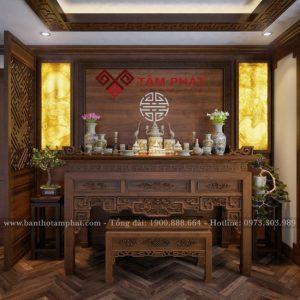 Bàn thờ kết hợp với ốp gỗ và tranh trúc chỉ cho phòng thờ sang trọng
