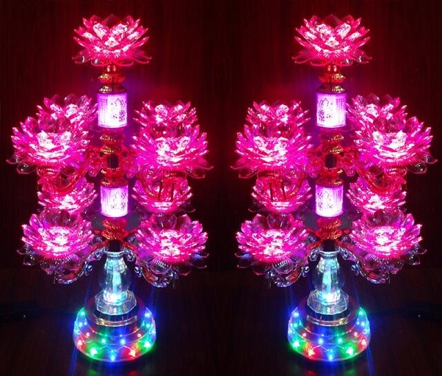 Đèn thờ hoa sen đổi màu rất đẹp