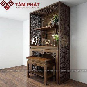 Bàn thờ gia tiên kết hợp bàn thờ treo thờ Phật