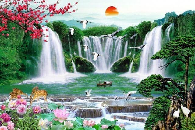 Tranh treo bàn thờ cảnh thiên nhiên