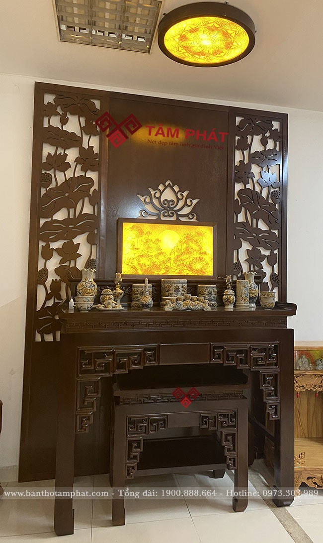 Bàn thờ gỗ Gụ 2 cấp BT1051 thiết kế đẹp