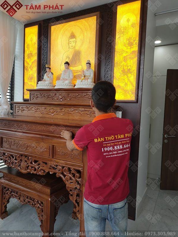 Thi công lắp đặt bàn thờ tam cấp cho khách hàng