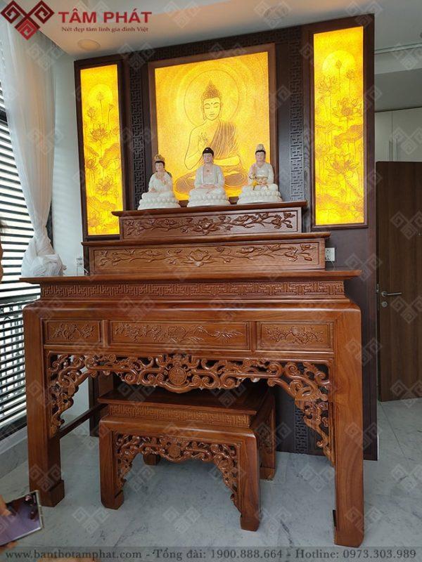Bàn thờ tam cấp gỗ Hương cho độ bền vĩnh cữu