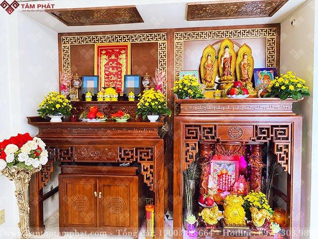 Bài trí bàn thờ Phật và gia tiên đẹp, trang nghiêm